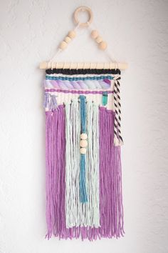 Handwoven Tapestry |Woven Wall Hanging | Wall Weaving | Woven Wall Art - modern, home decor, kids room, boho nursery decor purple green wood by whiskerwoven on Etsy https://www.etsy.com/listing/499557267/handwoven-tapestry-woven-wall-hanging