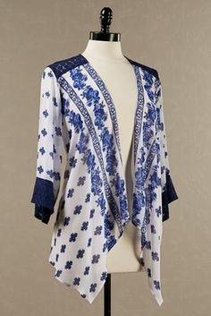 Versona crochet inset printed kimono cardigan #Versona