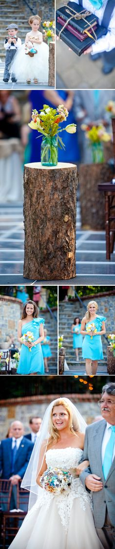 Outdoor southern wedding with turquoise wedding color palette, mason jars wedding centerpieces