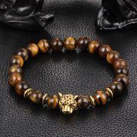 Xinyao dropship head gold leopard gold eye tiger bead buddha bracelet for men fashion men's punk bracelets and bangles