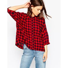 ASOS Crinkle Oversize Shirt in Red and Blue Gingham ($27) ❤ liked on Polyvore