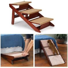 Pet Studio Pine Frame Dog Ramp Steps, 3 Step - converts to a ramp, folds for storage under bed or transport. Great help for aging dogs. Dog Ramp For Car, Pet Ramp, Dog Steps For Bed, Bed Steps, Dog Stairs, Ramp Stairs, Pet Furniture, Furniture Market, Dog Supplies