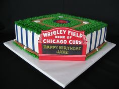 Chicago Cubs Birthday Cake - This was for a 9-yr-old Cubs Fan.  He really liked it.  I got a lot of great ideas from the CC site.  Thanks so much!  I made a mold for the little balls and bats around the side.  They are only 1/2 round so it really made that part go so much quicker than hand-modeling each one like I did for a previous cake.  And now I have the mold to use in the future!