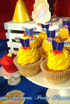 Fun cupcakes at a Snow White birthday party!  See more party planning ideas at CatchMyParty.com!