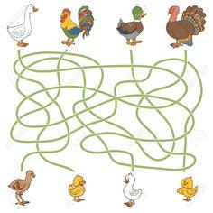 Maze game for children: help the young find their parents (farm birds: duck, goose, turkey, chicken) , Maze Game, Preschool Worksheets, Pre School, Games For Kids, Turkey Chicken, Kids Rugs, Birds, Children, Creative