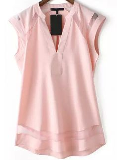 Pink V Neck Sheer Mesh Slim Blouse - abaday.com