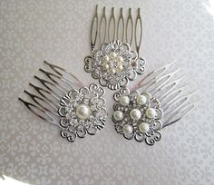 Bridal Hair Combs Wedding Hair Clips Pearl Hair Piece small hair comb Bridesmaid brooch comb silver hair clips crystal barrette rhinestone