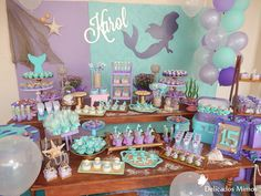 Decoração Tema Sereia Mermaid Theme Birthday, Barbie Birthday, Mermaid Baby Showers, Baby Mermaid, 9th Birthday Parties, 12th Birthday, Mermaid Parties, Party Food And Drinks, Party Activities