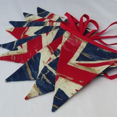 Fabric Bunting Nautical Union Jack Vintage  Distressed  Style  Red & Blue   9 double sided Pennant Flags 8 foot long plus ties New Handmade. $19.00, via Etsy.