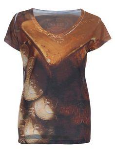 OMA TEES Camiseta Marrom Estampada.