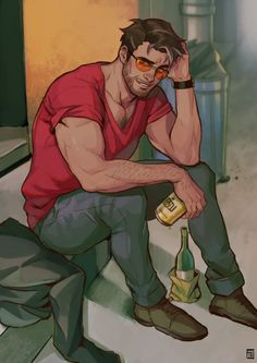 Drunk Daddy Robert Giving a try to simple backgrounds and stuff 🙃 Dream Daddy Game, Dream Daddy Fanart, Character Concept, Character Art, Animated Man, Comics Illustration, Fantasy Art Men, Gay Comics, Art Of Man