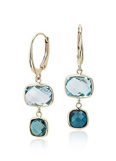 The perfect sea breeze color, these drop earrings feature sky and London blue topaz gemstones to create a beautiful ombre effect.