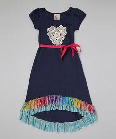 Look what I found on #zulily! Navy Rainbow Ruffle Maxi Dress - Toddler & Girls by Twirls & Twigs #zulilyfinds