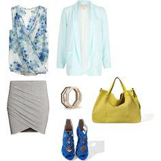 Sylwetka Y: Bluzka i spódnica H&M Marynarka River Island Buty i torba Zara Bransolety Mango