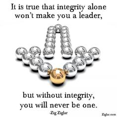Do you want to be a leader?  You need to show integrity.  Remember you need to act like a leader in order to be a leader.