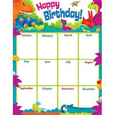 Browse our collection of award-winning classroom décor themes, educational card games, bulletin board sets, fun stickers for teachers, and more online! Birthday Chart Classroom, Dinosaur Classroom, Birthday Charts, Classroom Themes, Dinosaur Birthday, Birthday Fun, Birthday Celebration, Teacher Supplies, Personalized Stickers
