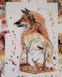 Autumn Forest Fox illustration wildlife art A3 art by Jakeart1
