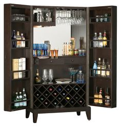 American Ashley Heights Black Stain Home Bar Wine Cabinet (Ashley ...