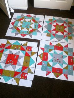 "Multi-color ""Swoon"" blocks. As you can see, this block is made up of half square triangles and flying geese. Easy!"