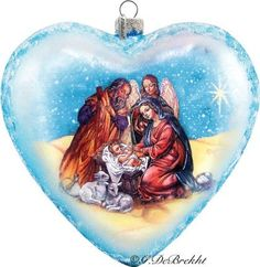 Heart Nativity Glass Ball - Extra Large