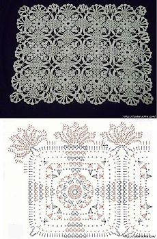 World Crochet: Napkin 41 - Diy Crafts - hadido Filet Crochet, Crochet Chart, Thread Crochet, Crochet Motif Patterns, Crochet Squares, Crochet Designs, Granny Squares, Crochet Tablecloth, Crochet Doilies