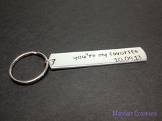 Anniversary Date Keychain You're My Favorite by MandarrCreations