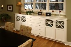 Built in buffet in my huge dining room would add storage and cozy it up a bit.  Will use some stock base cabinets and wood planking for the top and customize it to disguise my chest freezer and will also put in a desk area.