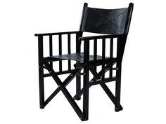 COFUR Colonial furniture & design Direktor Regiestuhl, faltbarer Holz Stuhl, Sitz, Rückteil und Lehnen in Büffel Leder.