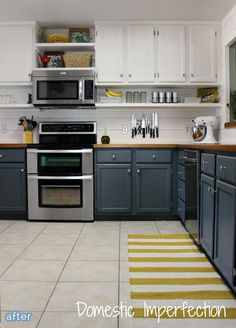Fabulous kitchen makeover with blue painted cabinets and butcherblock counters.  betterafter.net