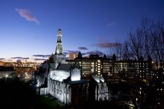 Glasgow Cathedral with the Royal Infirmary to the right at night