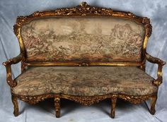 Antique French 19th Century Rococo Gilt Settee