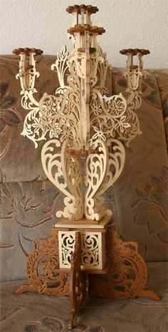The Sirens Candelabra, scroll saw fretwork pattern