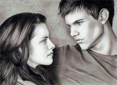 Bella And Jacob Of The Twilight Saga New Moon Drawing. Film Twilight, Twilight Jacob, Twilight Wolf, Twilight New Moon, Twilight Pictures, Vampire Twilight, Celebrity Drawings, Celebrity Portraits, Tris Und Four
