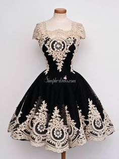 Vintage Scoop Cap Sleeves Black With White Appliques Short Homecoming Dresses, prom dress, black dress with gold lace