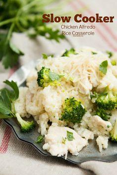 Easy slow cooker chicken alfredo rice casserole