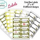 Cute Bumble Bee Labels ~ Editable labels come in 8 different designs.  You will find so many uses for these super cute Bumble Bee labels. Comes in ...