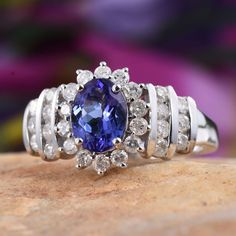 14K WG Tanzanite (Ovl 3A 1.35 Ct), Diamond Ring (Size 8.0) TDiaWt 0.90 cts, TGW 2.250 cts.