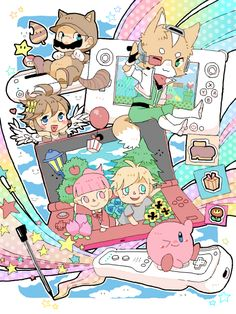 Tanooki suit Mario, Pit, Fox, Animal Crossing New Leaf, and Kirby! Super Smash Bros, Super Mario Bros, I Love Games, Cute Games, Nintendo Characters, Video Game Characters, Kid Icarus, Only Play, Cartoon Games