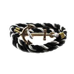 Retro Style Handmade Gold Color   Anchors Shaped with Rope String Sufer Friendship Bracelet for Men Women - 10