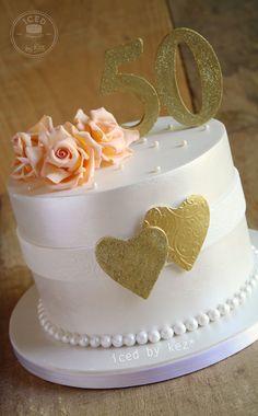 50th Wedding Anniversary Cake - iced by kez #goldenanniversary
