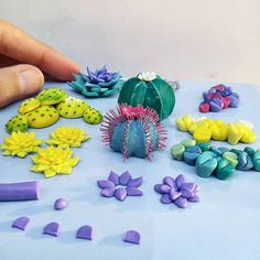 Sculpting various cacti and succulents (also lithops!) from polymer clay. 😊🌵🌱 My cold is finally almost over too! Hope you're having a fun weekend 😊💙 Polymer Clay Sculptures, Polymer Clay Animals, Cute Polymer Clay, Polymer Clay Miniatures, Fimo Clay, Polymer Clay Projects, Sculpture Clay, Ceramic Clay, Polymer Clay Jewelry