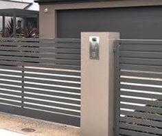 Image result for plaster fence pillar sliding gate
