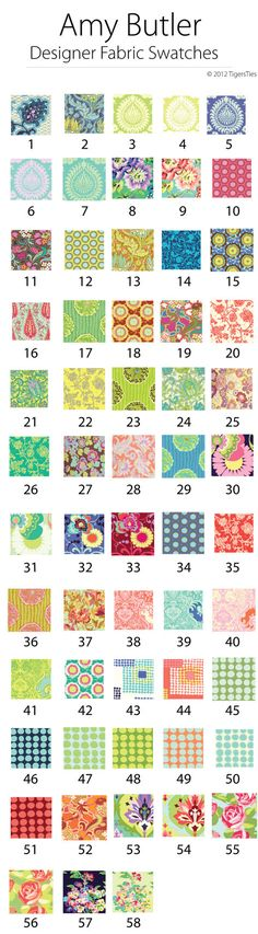 Custom Amy Butler Designer Fabric Swatches for Custom Crib Sheets! $40.00 #tigersties