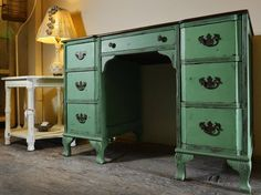 Freshen up a home office by painting an old desk a bright color, as Studio 1404, in the West Bottoms, did here using Mother Earth chalk paint.
