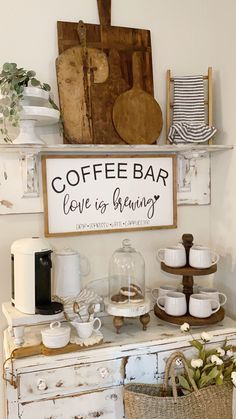 Coffee Bar Station, Coffee Station Kitchen, Coffee Bars In Kitchen, Coffee Bar Home, Coffee Bar Ideas, Tea Station, Home Coffee Stations, Wine And Coffee Bar, Coffee Nook