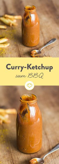 Curry-Ketchup Tomato ketchup from our own kitchen is refined here with spicy curry powder and tastes great with bratwurst and fries. Curry Ketchup, Curry Sauce, Vegan Sauces, Vegan Recipes, Snack Recipes, Bbq Sauces, Bratwurst, Chutney, Grilling Recipes