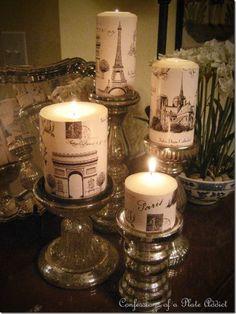 ** Decorate Plain Candles Using Wrapping Paper And Decoupage Decoupage, Thema Paris, Paris Bathroom, Paris Rooms, Shabby Chic Stil, Paris Decor, Decoration Inspiration, Decor Ideas, Decorating Ideas