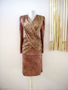 Vintage Bronze and Gold Cocktail Dress - Avant Garde Brown and Black Glittery Trophy Wiggle Dress Body Con Dress - Size Small Medium 7/8 by OmAgainVintage for $30.00