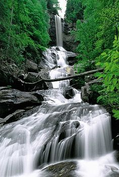 Raven Cliff Falls, SC, USA. Mountain Bridge Wilderness Area. This 400-foot waterfall of Matthews Creek is one of the most scenic and photographed waterfalls in the state.  It was named for the ravens that breed in the high cliffs forming the falls.  Over 150 species of ravens have been identified in this region.