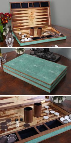 - Shagreen Backgammon in Green - Contemporary and impressive Backgammon set in Walnut and laurel green faux shagreen exterior. These backgammon sets look absolutely stunning in any interior! Inside we have inlaid the interior playing surface with luxury Mappa burl and walnut. The inserts for the walnut dice shakers and leather & stainless steel pieces are lined with midnight blue silk velvet. Who could resist a game!